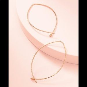 Stella & Dot Wire Hammered Rose Gold Hoops